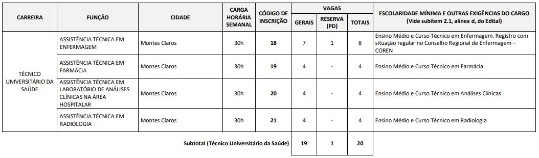 vagas concurso unimontes 2019