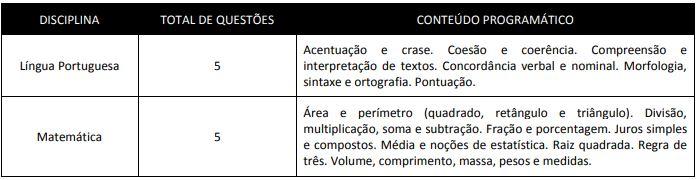 prova concurso Prefeitura de Teotônio Vilela